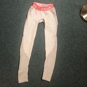 Gymshark flex light grey leggings xs pink band